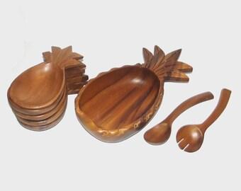 1950s wooden bowls set / 50s vintage bowls / Hawaii Monkeypod wood / Hand-Carved Pineapple Wooden Bowl Serving Set