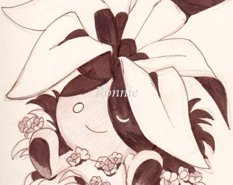 Oddish original illustration matte print 11 x 8.5, pokemon, home decor