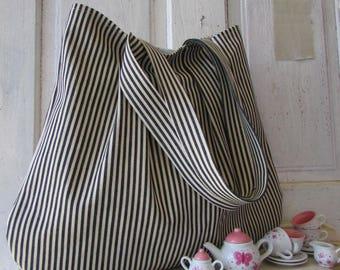 Bag black and white striped canvas shopping bag shoulder bag market tote