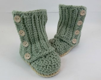 Baby Wrap Booties Soft Forest Green Crochet Booties 6-12 Month Size Baby Shoes