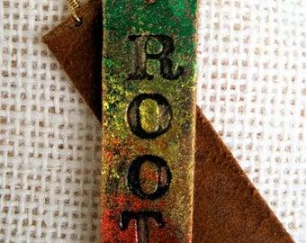 Sale: Rasta Reggae ROOTS Painted Leather Skin Tag Earrings