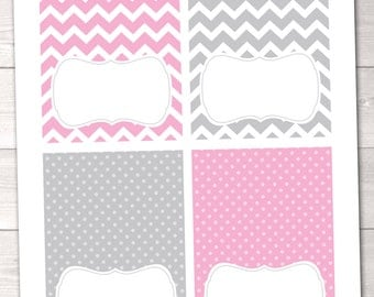 Instant Download Printable Party Labels Pink & Gray Chevron Stripes and Polka Dots Blank Buffet Card PDF