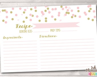 Pink & Gold Printable Recipe Cards Instant Download PDF