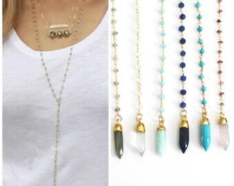 Long Lariat Necklace, Long Necklace, Gemstone Lariat Necklace, Long Y Necklace, Rosary Drop Necklace, Gem Drop Necklace
