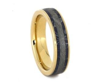 Meteorite Wedding Band, Mokume Gane Ring, 10k Gold Ring With Blue Bronze and White Mokume, Meteorite Jewelry
