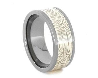 Mokume Gane Ring with Palladium, White Gold, and Argentium Silver Mokume, Mens Wedding Band