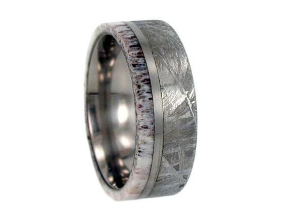 Meteorite Ring, Antler Ring, Gibeon Meteorite Deer Antler on Titanium Band, Titanium pinstripe