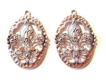 Pair of Oval Fleur de Lis Filigree Charms Rhinestones Antique Silver-tone