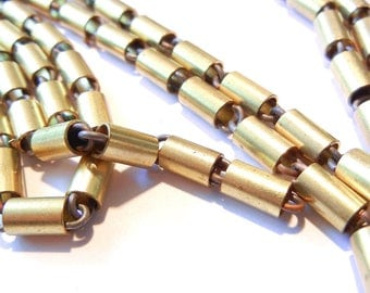 Over 9 Feet of Rare Vintage Brass Round Tube and Link Chain