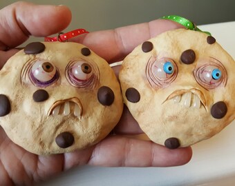 Chocolate Chip polymer clay Monster Christmas Cookie ornament Mealy Monster Land