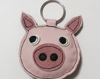 Handmade recycled leather cute pig keychain keyring bagtag gift FREE SHIPPING UK