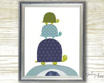 Navy blue and green nursery - kids wall art - baby nursery - nursery wall art - Kids art turtle - kids room decor -  Going Places