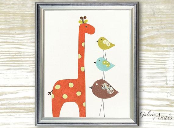 Baby Boy Nursery Decor Kids wall Art Nursery Art Children Decor Baby nursery wall art giraffe nursery  nursery Bird - Taller than You