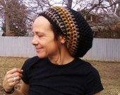 DREAD HAT Natural Handmade Crochet Hat Rasta Hat Wool Hat Slouch Hat Dreadlock Tam Dread *Black & Stripes*