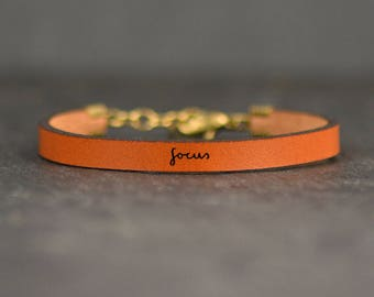 photographer gift | focus leather bracelet | simple bracelet | stay focused | college student gift | word bracelet | quote bracelet