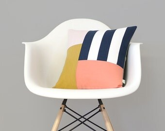 Graphic Grid Pillow Cover in Navy, Cream, Peach, Yellow & Pale Pink by JillianReneDecor (16x16) - Modern Home Decor - Colorblock Stripes