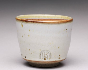 handmade pottery cup, ceramic teacup, yunomi, espresso cup with satin white and light orange shino glazes