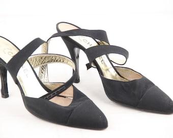 Authentic CHANEL Vintage Black Fabric PUMPS Heels SHOES Criss Cross Strap 39 1/2