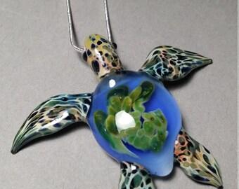Ocean Blue Sea Turtle pendant