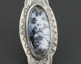Dendritic Opal Ring, merlinite, black and white dendrites, size 7.5 ring, white and black, dendrite, black white stamped ring, black white