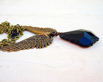 Angel Wing Necklace - Bronze Angel Wings - Glass Prism - Pendant Necklace - Black Prism - Angel Wings Jewelry - Handmade