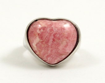 Vintage Rhodochrosite Ring Sterling Silver Heart Ring US Size 7.5 UK Size O Half Pink Stone Ring Large Ring Chunky Ring 925 Silver Ring