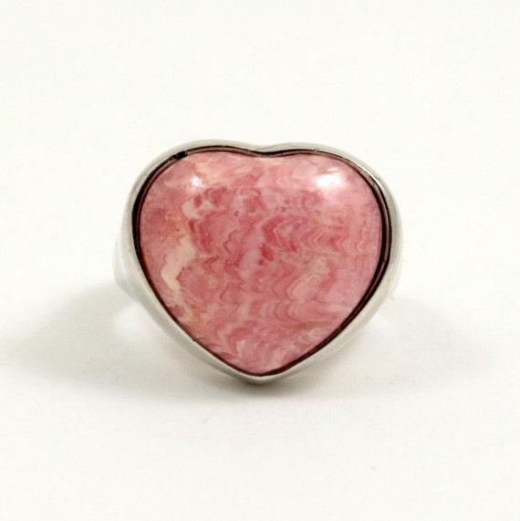 Vintage Sterling Silver Pink Rhodochrosite Heart Ring