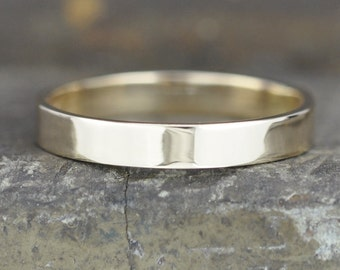 Gold Medium Width Wedding Band, 3mm Solid 14K Yellow Gold from Recycled Sources, Eco Gold, Sea Babe Jewelry