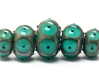 ON SALE 45% OFF Five Graduated Ocean Blue w/Black Dots Rondelle Beads - Handmade Glass Lampwork Beads - 10503801