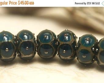 ON SALE 35% OFF Seven Teal w/Metal Dots Rondelle Beads Raised dots design - Handmade Glass Lampwork Bead Set 10410301