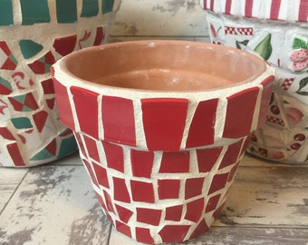 Broken China Mosaic Flower Pot - 6 Inch Plain Red