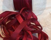 Gorgeous variegated 7mm crimson/rose silk ribbon ~ 3 yards #VAB121