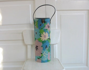 Vintage Yarn Case, Yarn Holder, Yarn Storage, String Holder, Floral Yarn Case, Sixties Flowers, Blue Flower Case, Blue Green Case
