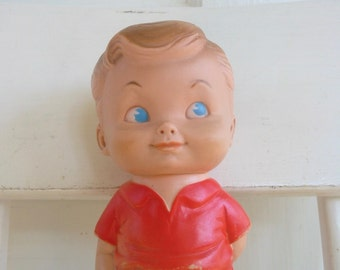 Vintage Squeaky Toy, Rubber Doll, Squeaky Boy Doll, Sun Rubber Company, Red Boy Doll, Rubber Boy Doll
