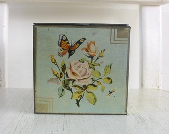 Vintage Metal Tin, Biscuit Tin, Vintage Candy Tin, Confections Tin, Square Tin, Flower Tin, Butterfly Tin, England Tin, Metal Box, Shabby