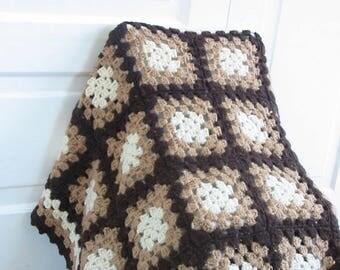 Vintage Granny Square Afghan, Vintage Blanket, Vintage Brown Afghan, Granny Square Blanket, Vintage Brown Throw, Vintage Boho Blanket