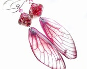 Enchanting Pink Dragonfly Wing Earrings, Unique Handcrafted OOAK (One of a Kind) Lampwork Glass & Resin Nature Jewellery