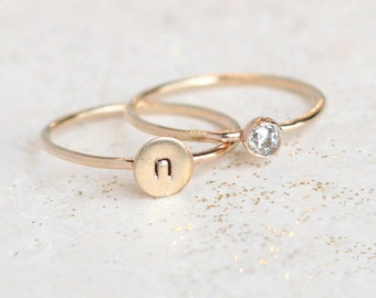 personalized stacking rings. custom hand stamped gold ring. gemstone stacking band. gold diamond ring. personalized gift. stackable rings.