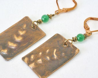 Fern Earrings, Botanical, Embossed Ferns, Copper Ferns, Woodland Ferns. Forest Ferns,  Mossy Green, Gift for Naturalist, Copper Jewelry