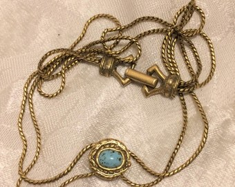Vintage Goldette Double Chain Choker Slide Necklace with a Blue Cab. 15 Inches Long and Signed on the Back of the Foldover Clasp. (D10)