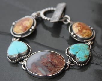 RESERVED LAYAWAY for Claudia oOo prudent man plume agate, turquoise, agatized fossil coral, and sterling silver metalwork link bracelet