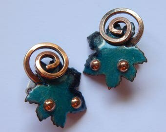 Matisse Like Enamel and Copper Clip Earrings - Vintage Earrings