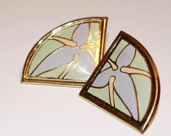 Lavender and Green Earrings Vintage Signed LBon Springtime Earrings