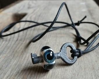 Eyeball Skeleton Key Necklace
