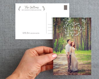 "Digital File, Wedding Thank you Postcards, floral greenery, ""Blithe Style"""