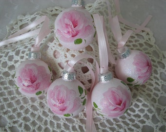 Small Glass Ball Ornaments Hand Painted Pink Roses 5 piece Set Glitter