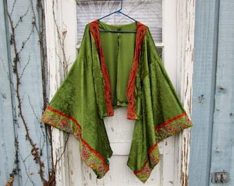 Beaded Embroidered Gypsy Kimono Jacket// Velvety// Avocado Green// Festival Clothing// Topper Duster// emmevielle