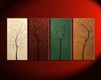 Four Seasons Tree Painting Acrylic Wall Art Original Artwork Home Decor 60x30 Custom Brown Green Beige