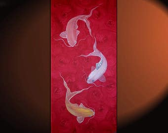 Red Koi Fish Painting Chinese Zen Wall Art Style Original Art Zen Home Decor Japanese Artwork Custom 15x30