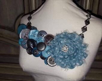 Bib Style Vintage Button Necklace HANDMADE